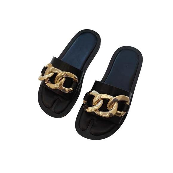 Zara Black Slides with Gold Chain Detail